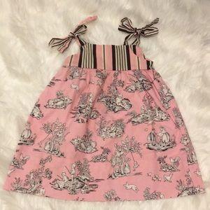 Rosie Posie girls dress 3T pink toile pattern
